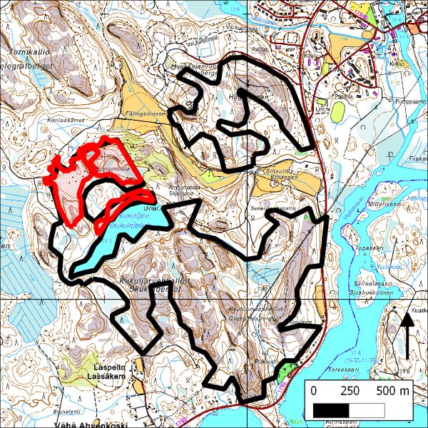 Kartassa mustalla luontojärjestöjen suojeluesityksen rajaus (2009) ja punaisella Stora Enson avohakkuuleimikot.