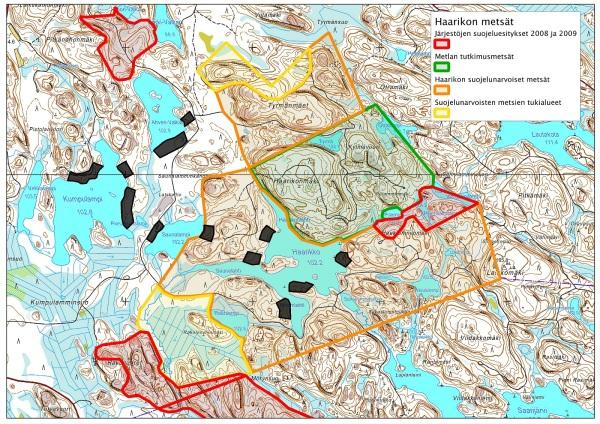 Haarikon alueelta on tehty suojeluesityksiä UPM:lle jo vuodesta 2008 lähtien. Suojeluesitystä on laajennettu kattamaan lisääntyneen tiedon valossa arvokkaat alueet. Karttaan on merkitty mustalla UPM:n suunnittelemat mökkitontit.