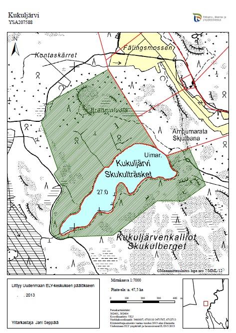 Kukuljärvelle perustetun yksityisen luonnonsuojelualueen karttarajaus.