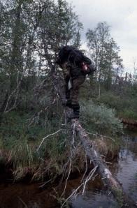 Misha ylittää joen.