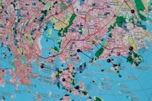 Helsingin arvometsiä kartalla